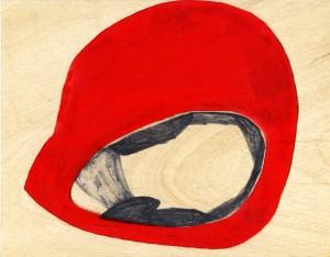 Helm 2. Folie auf Holz, 26x29cm. 2013