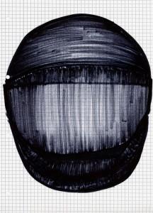 Helm 1. Edding auf Karopapier, 21x30cm. 2013
