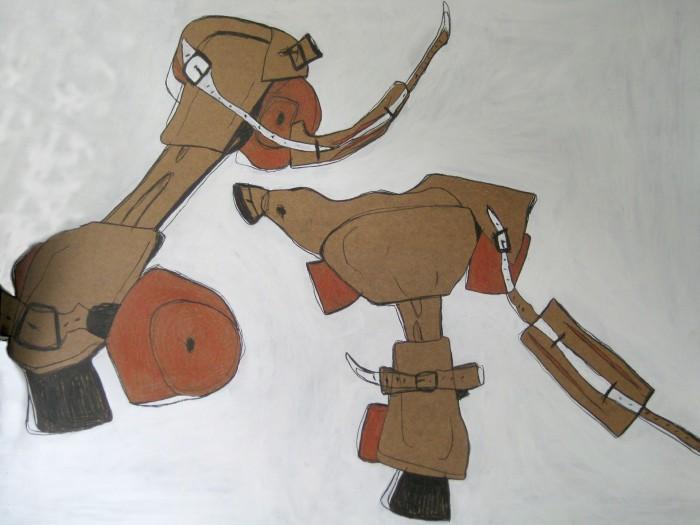Rollschuhe. Acryl auf mdf, 180x150 cm. 2010