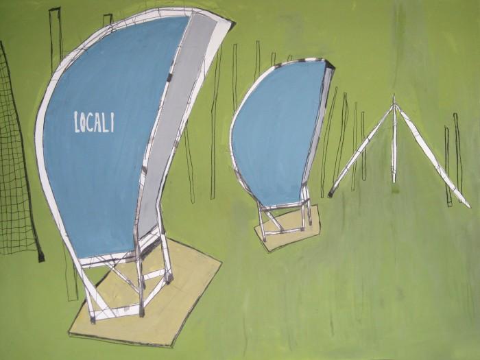 Wartebänke. Acryl auf mdf, 180x150 cm. 2010